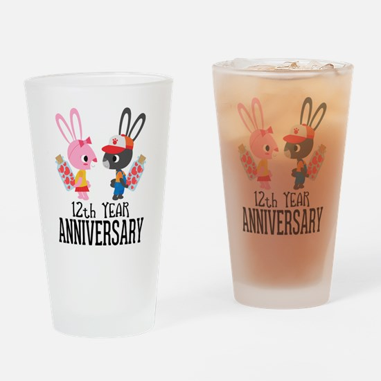 12th Anniversary Couple Bunnies Drinking Glass