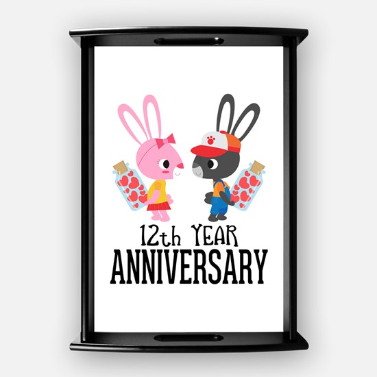 12th Anniversary Couple Bunnies Coffee Tray