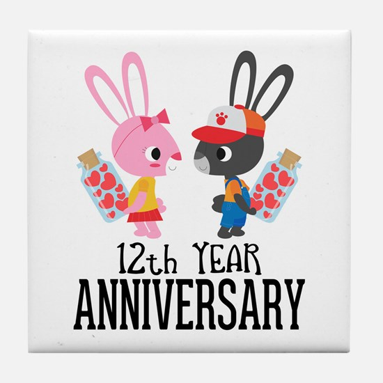 12th Anniversary Couple Bunnies Tile Coaster