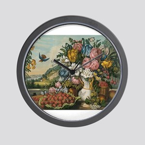 fruit and flowers Wall Clock