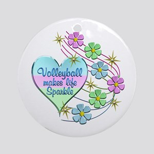 Volleyball Sparkles Round Ornament