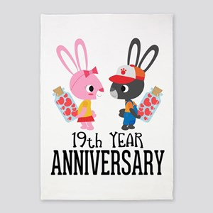 19th Anniversary Couple Bunnies 5'x7'Area Rug
