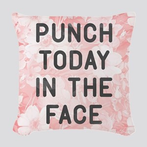 Punch Today Woven Throw Pillow