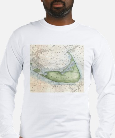 Vintage Map of Nantucket (1857 Long Sleeve T-Shirt