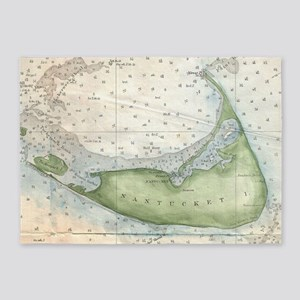 Vintage Map of Nantucket (1857) 5'x7'Area Rug