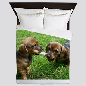 dachshund puppies Queen Duvet