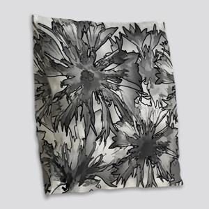Cornflowers in Gray Burlap Throw Pillow