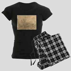 Vintage Map of The Mount Ver Women's Dark Pajamas