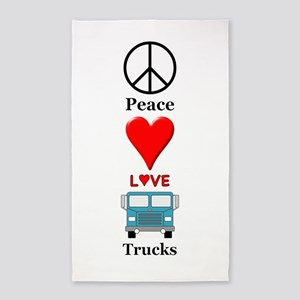 Peace Love Trucks Area Rug