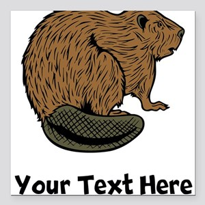 "Brown Beaver (Custom) Square Car Magnet 3"" x 3"""