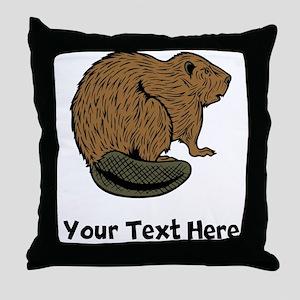Brown Beaver (Custom) Throw Pillow