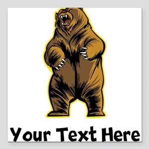 """Grizzly Bear (Custom) Square Car Magnet 3"""" x 3"""""""