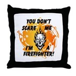 Firefighter Skull and Flames Throw Pillow