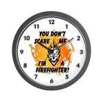 Firefighter Skull and Flames Wall Clock