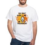 Firefighter Skull and Flames White T-Shirt