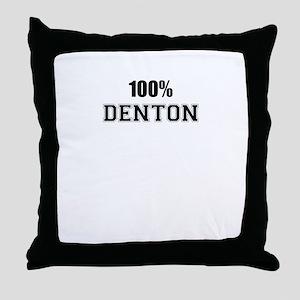 100% DENTON Throw Pillow