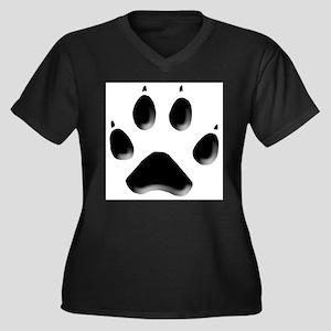 Wolf Track 1 Women's Plus Size V-Neck Dark T-Shirt