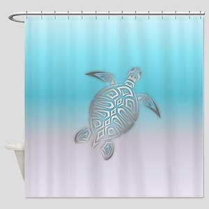 Silver Sea Turtle Beach Style Shower Curtain