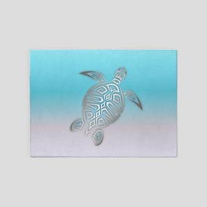 Silver Sea Turtle Beach Style 5'x7'Area Rug