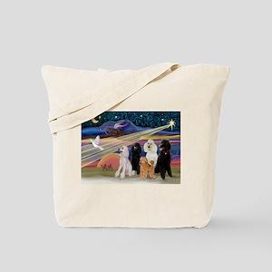 XmasStar/5 Poodles Tote Bag