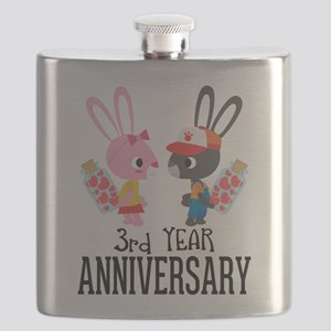 3rd Anniversary Couple Bunnies Flask