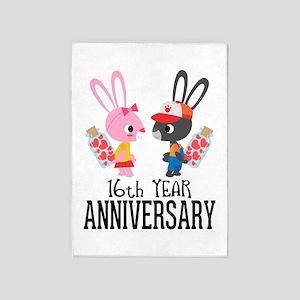 16th Anniversary Couple Bunnies 5'x7'Area Rug