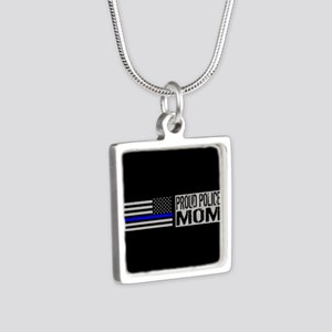 Police: Proud Mom (Black F Silver Square Necklace