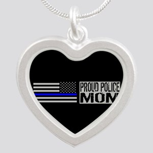 Police: Proud Mom (Black Fla Silver Heart Necklace