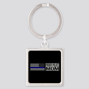 Police: Proud Mom (Black Flag Blue Square Keychain