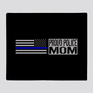 Police: Proud Mom (Black Flag Blue L Throw Blanket