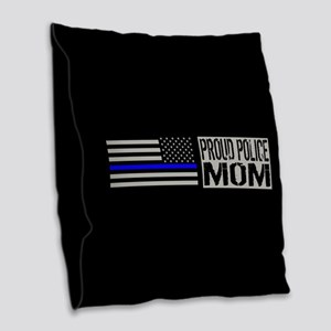 Police: Proud Mom (Black Flag Burlap Throw Pillow
