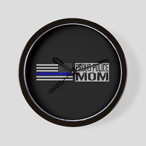 Police: Proud Mom (Black Flag Blue Line Wall Clock