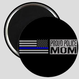 Police: Proud Mom (Black Flag Blue Line) Magnet