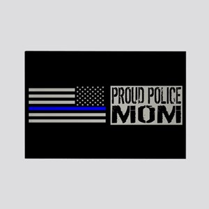 Police: Proud Mom (Black Flag Blu Rectangle Magnet