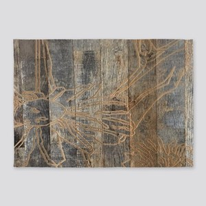 rustic country bohemian wooden 5'x7'Area Rug