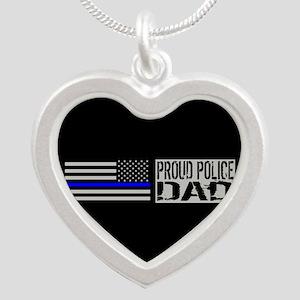Police: Proud Dad (Black Fla Silver Heart Necklace