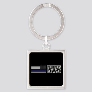 Police: Proud Dad (Black Flag Blue Square Keychain