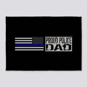 Police: Proud Dad (Black Flag Blue 5'x7'Area Rug