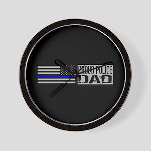 Police: Proud Dad (Black Flag Blue Line Wall Clock