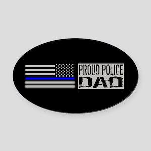 Police: Proud Dad (Black Flag Blue Oval Car Magnet