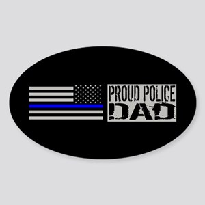 Police: Proud Dad (Black Flag Blue Sticker (Oval)
