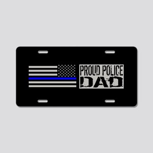 Police: Proud Dad (Black Fl Aluminum License Plate