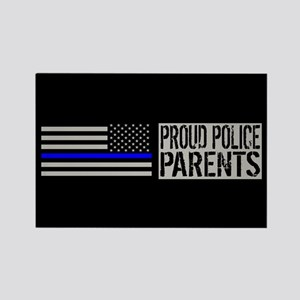Police: Proud Parents (Black Flag Rectangle Magnet