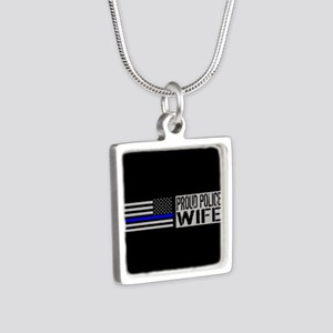 Police: Proud Wife (Black Silver Square Necklace