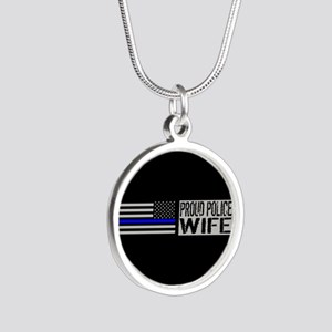 Police: Proud Wife (Black Fl Silver Round Necklace