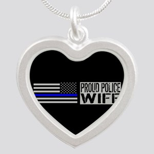 Police: Proud Wife (Black Fl Silver Heart Necklace