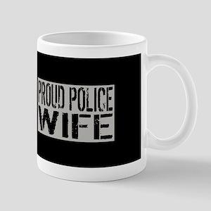 Police: Proud Wife (Black Flag Blue Lin Mug