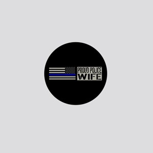 Police: Proud Wife (Black Flag Blue Li Mini Button