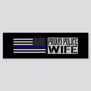 Police: Proud Wife (Black Flag Bl Sticker (Bumper)