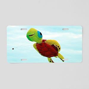 Happy turtle kite flying Aluminum License Plate